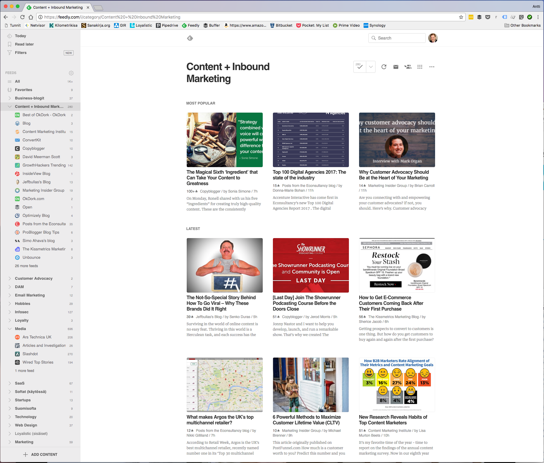 Screenshot of Feedly newsreader