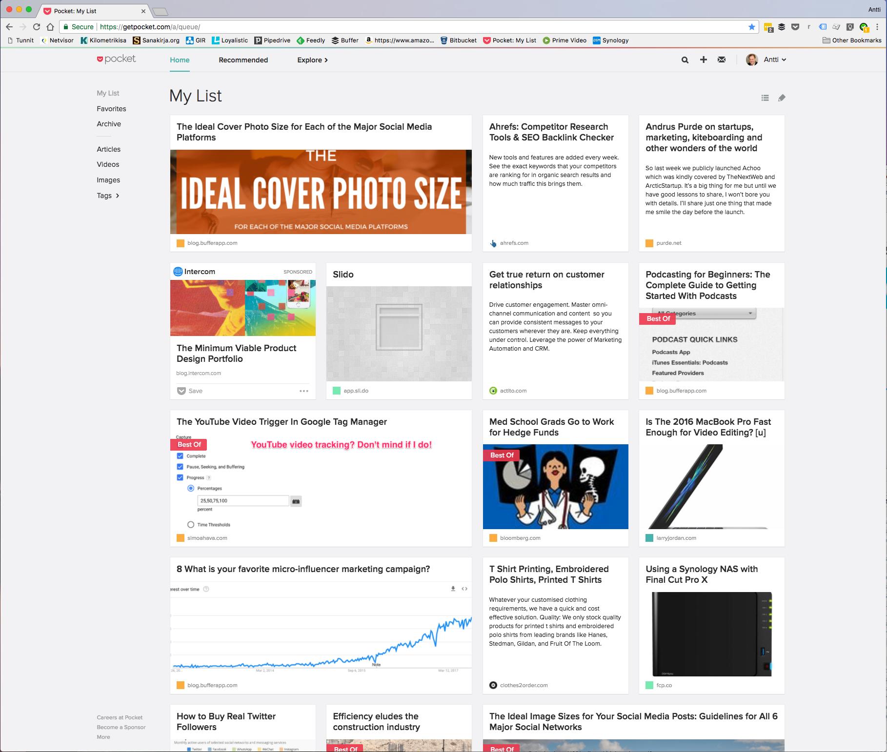 Screenshot of Pocket, a read it later app